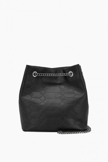 Phoenix Bucket Crossbody, Black Signature Embossed