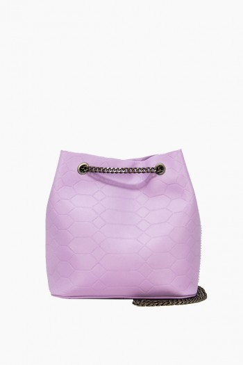 Phoenix Bucket Crossbody, Soft Lavender Signature Emboss
