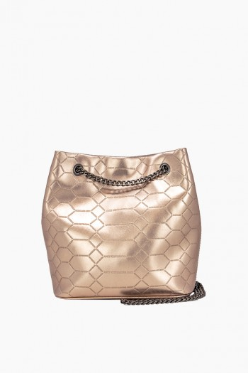 Phoenix Bucket Crossbody, Light Rose Gold Metallic