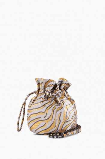 I'm a Queen Crossbody Pouch, Metallic Zebra