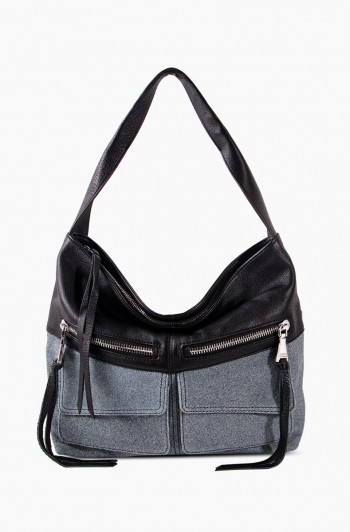 Road Trip Hobo, Black/Denim Leather