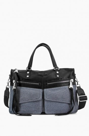 Road Trip Satchel, Denim/Black