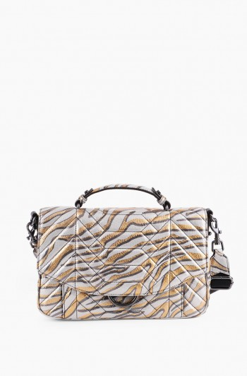 Scene Stealer Large Top Handle Crossbody, Metallic Zebra