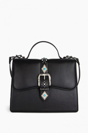 Shine Away Top Handle Shoulder Bag, Black