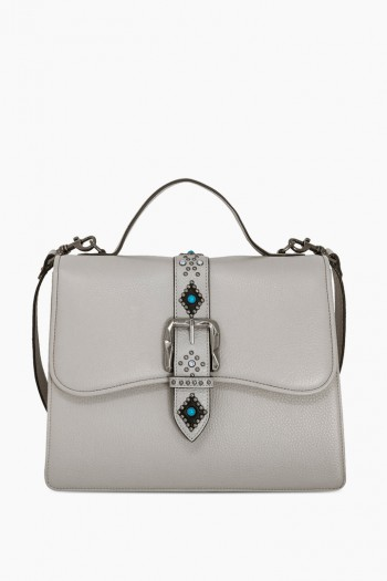 Shine Away Top Handle Shoulder Bag, Elephant Grey