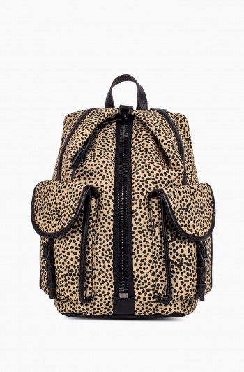 Nylon Tamitha Cargo Backpack, Natural Spotted Cheetah