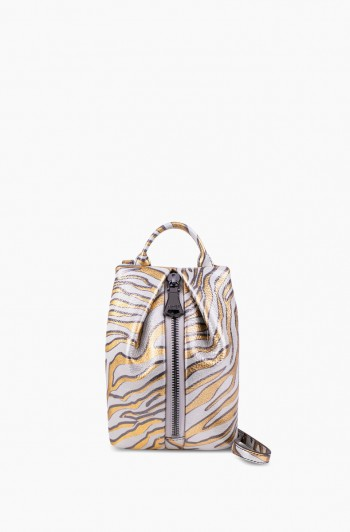 Tamitha Mini Crossbody, Metallic Zebra