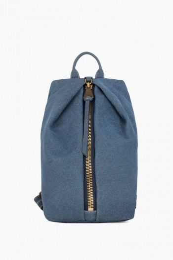 Tamitha Backpack, Dark Denim Leather w/ Distressed Gold