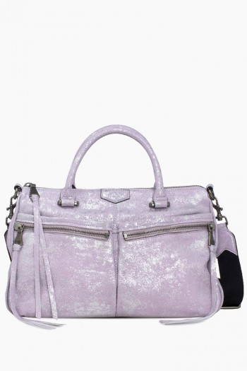 You Got This Satchel, Soft Lavender Distressed Denim
