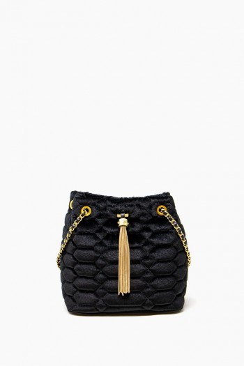 Velvet Dreams Bucket Shoulder, Black