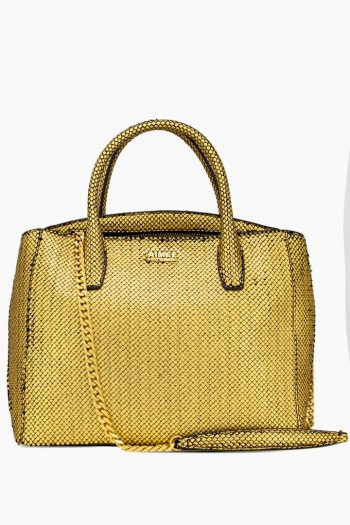 W33rd Large Satchel, Gold Fish Scales