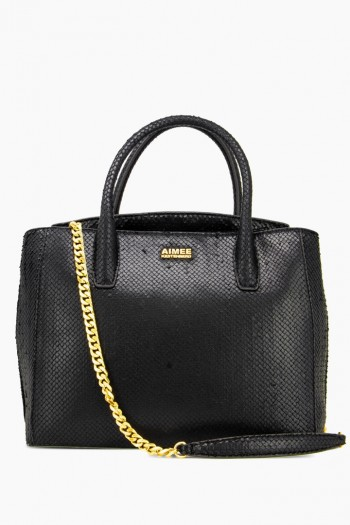 W33rd Large Satchel, Black Fish Scales