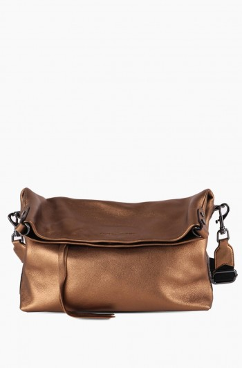West 33rd Convertible Fold-over Crossbody, Metallic Bronze