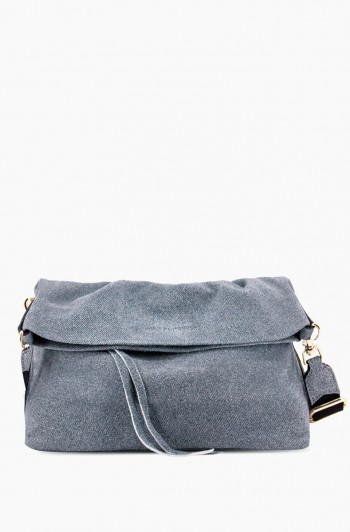 West 33rd Convertible Fold-over Crossbody, Denim Leather