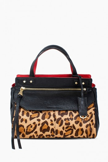 Walk Of Fame Satchel, Large Leopard Haircalf
