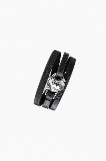 It's a love thing leather wrap bracelet, Black