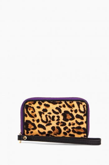Dusk Till Dawn Zip Around Card Case, Small Leopard Haircalf