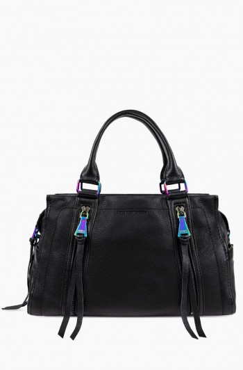 Zip Me Up Triple Entry Satchel, Black