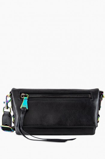 Zip Me Up Double Entry Shoulder Bag, Black