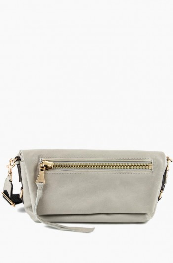 Zip Me Up Double Entry Shoulder Bag, Elephant Grey